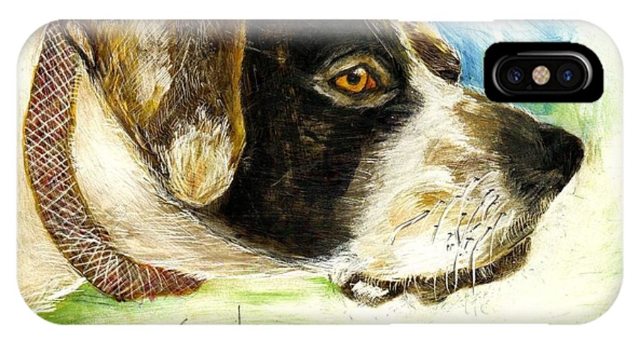 Setter IPhone X Case featuring the painting I Want To Hunt by Joe Byrd