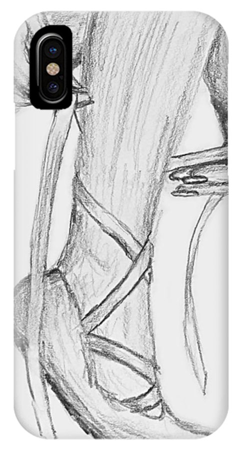 Leg IPhone X Case featuring the drawing I Will Dance by Kume Bryant