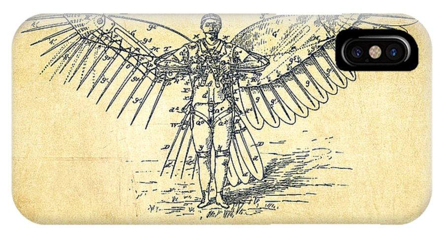 Icarus IPhone X / XS Case featuring the digital art Icarus Flying Machine Patent Drawing-vintage by Aged Pixel