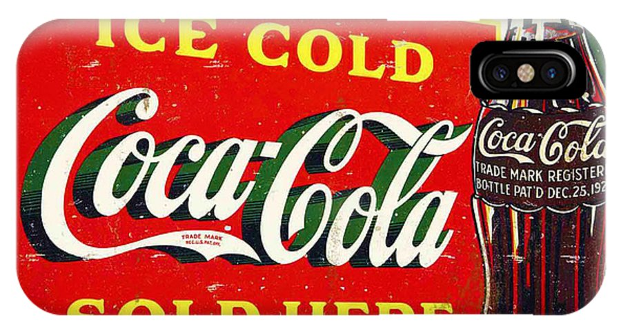 Ice IPhone X Case featuring the photograph Ice Cold Coca-cola Sold Here by Bill Cannon