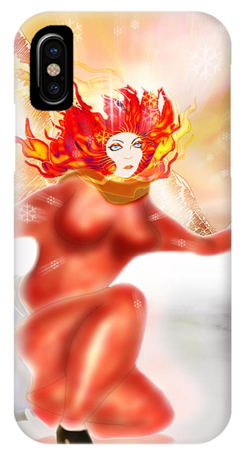 Winter IPhone X Case featuring the digital art Ice Flame by Grant Wilson