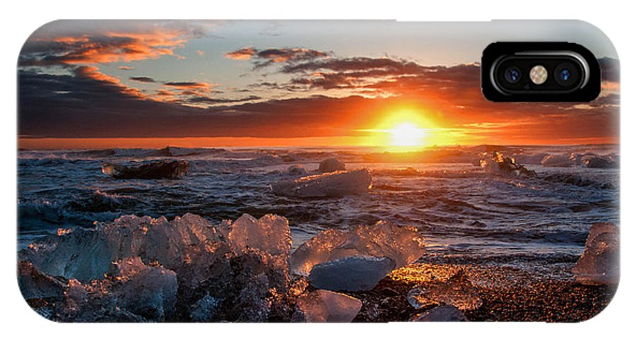 Ice IPhone X Case featuring the photograph Ice On Fire by Jim Southwell