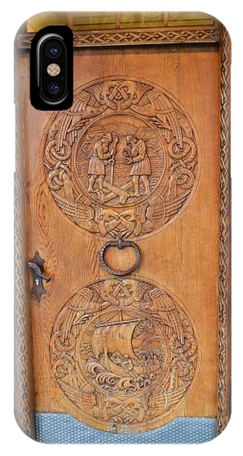 Iceland IPhone X Case featuring the photograph Icelandic Wood Carved Door by Paula Deutz