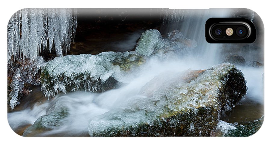 Icicle IPhone X Case featuring the photograph Icy Patapsco Waterfall 2 by Benjamin Reed