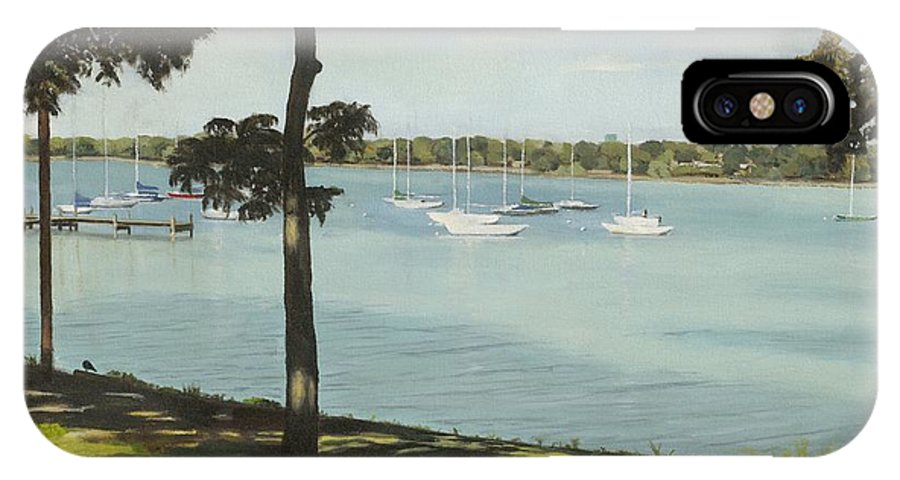 Lake IPhone X Case featuring the painting Idle Boats On White Rock Lake by H Chris Ross