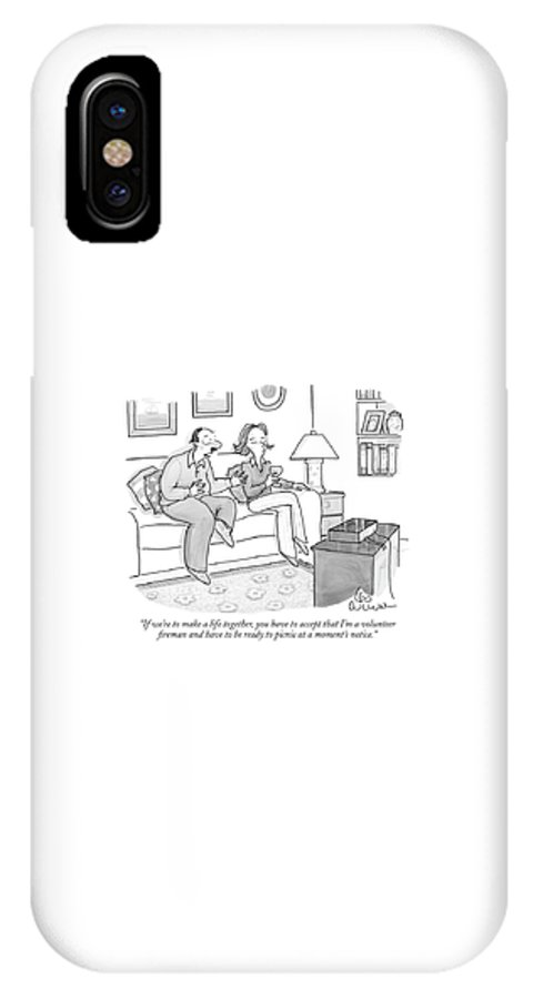 Word Play Relationships Workers Food   (man Talking To Woman While Watching Television.) 120172 Lcu Leo Cullum IPhone X Case featuring the drawing If We're To Make A Life Together by Leo Cullum