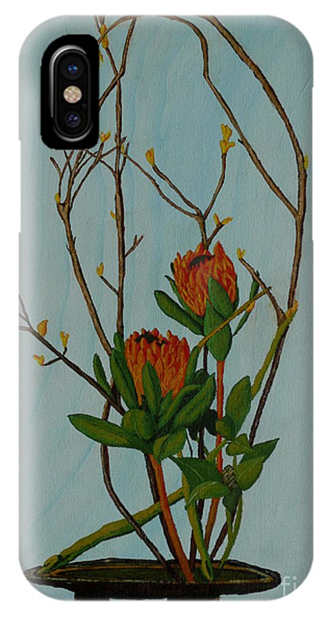 Ikebana IPhone X Case featuring the painting Ikebana Dancers by Anthony Dunphy