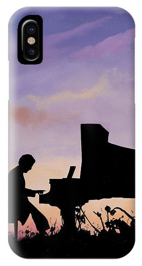 Musical Intruments IPhone X Case featuring the painting Il Pianista by Guido Borelli