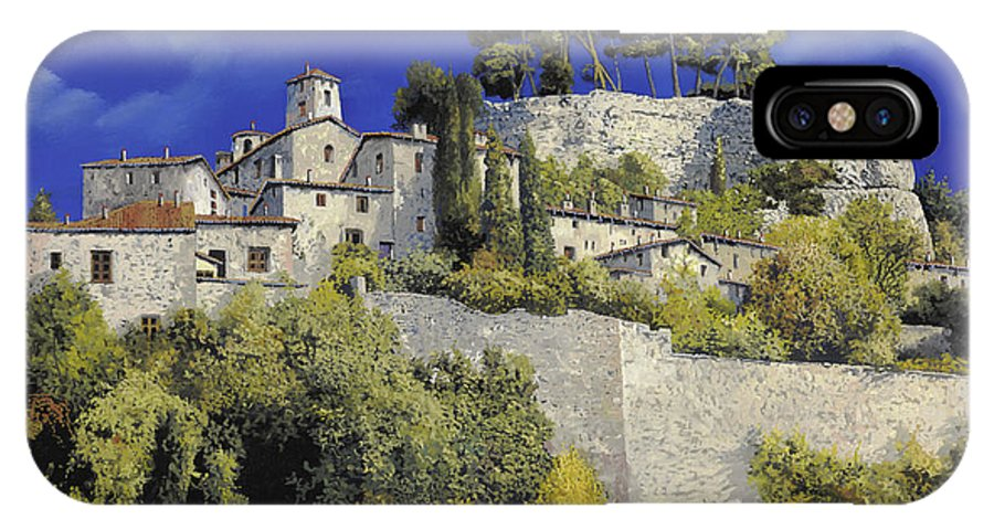 Blue Village IPhone X Case featuring the painting Il Villaggio In Blu by Guido Borelli
