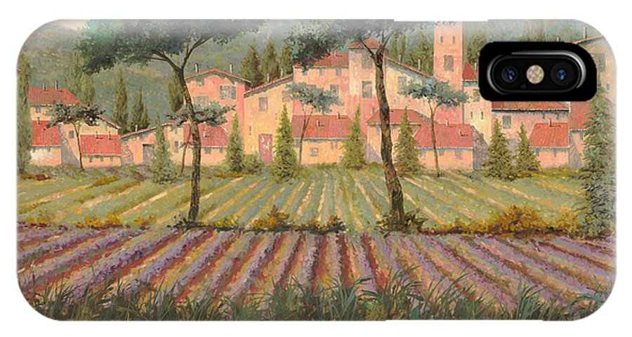 Lavender IPhone X Case featuring the painting Il Villaggio Tra I Campi Di Lavanda by Guido Borelli