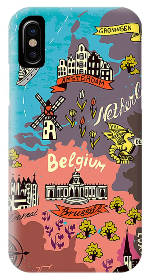 Country IPhone X Case featuring the digital art Illustrated Map Of The Netherlands by Daria i