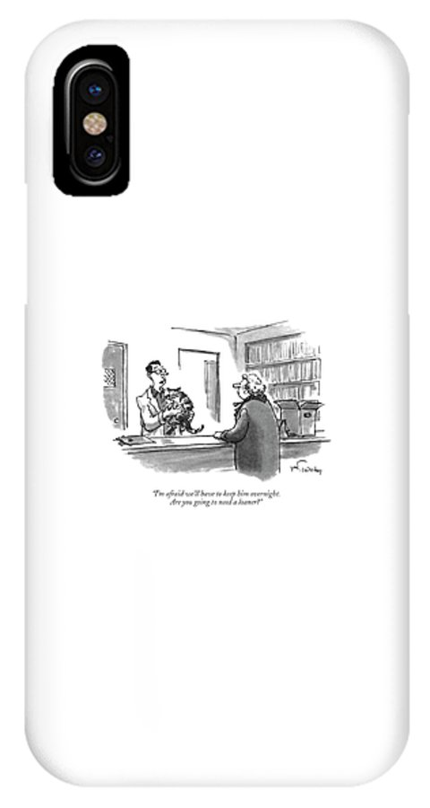 Animals IPhone X Case featuring the drawing I'm Afraid We'll Have To Keep Him Overnight by Mike Twohy