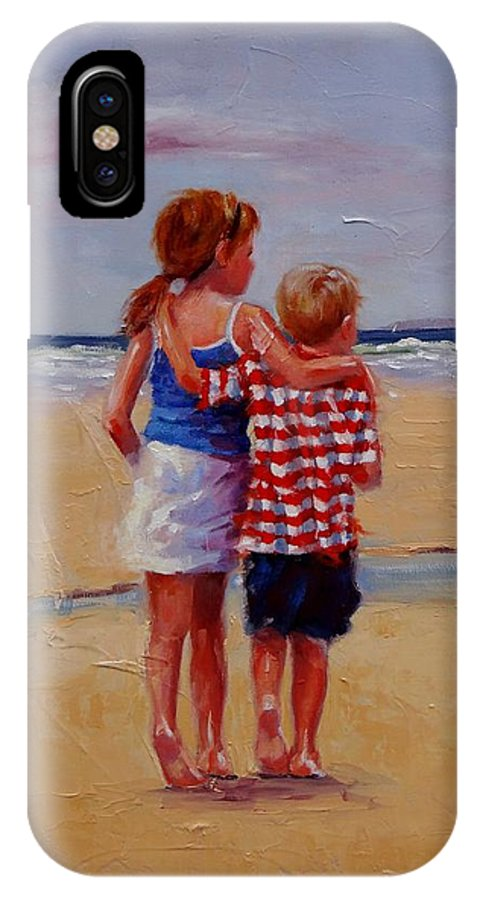 Children IPhone X Case featuring the painting I'm Coming Too by Laura Lee Zanghetti