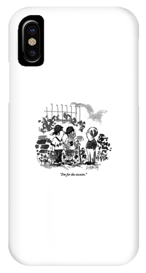 Sports IPhone X Case featuring the drawing I'm For The Owners by Donald Reilly