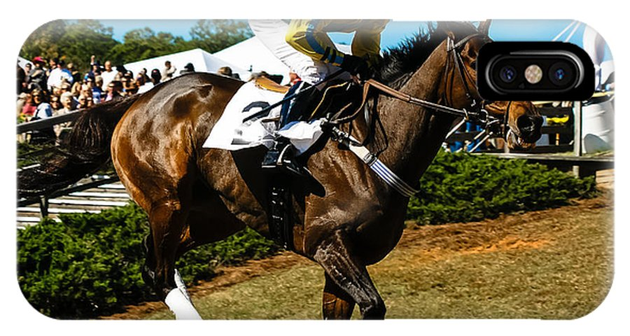 Steeplechase IPhone X / XS Case featuring the photograph I'm In Front by Robert L Jackson