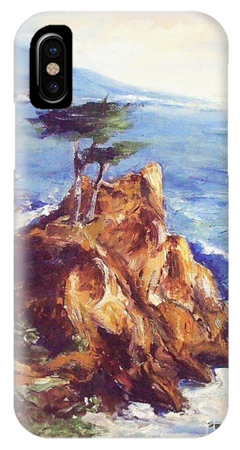 Seascape IPhone X Case featuring the painting Imaginary Cypress by Eric Schiabor