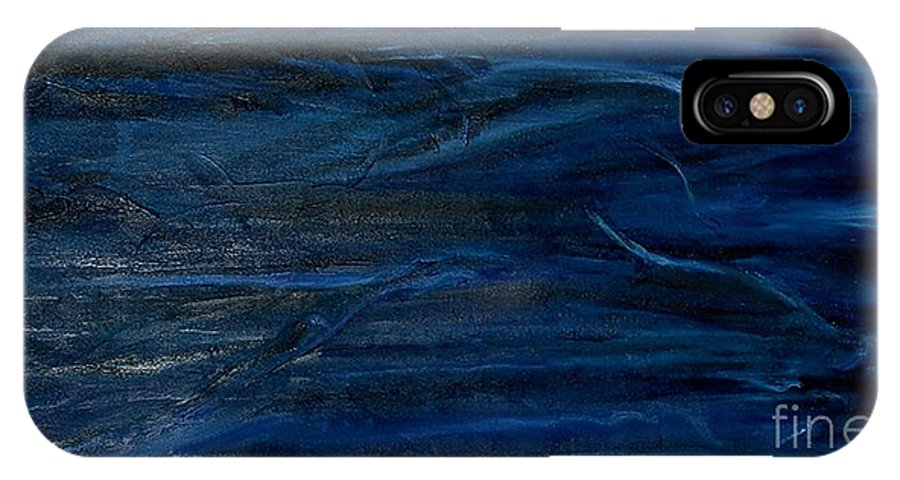 Abstract IPhone X Case featuring the painting Immense Blue by Silvana Abel