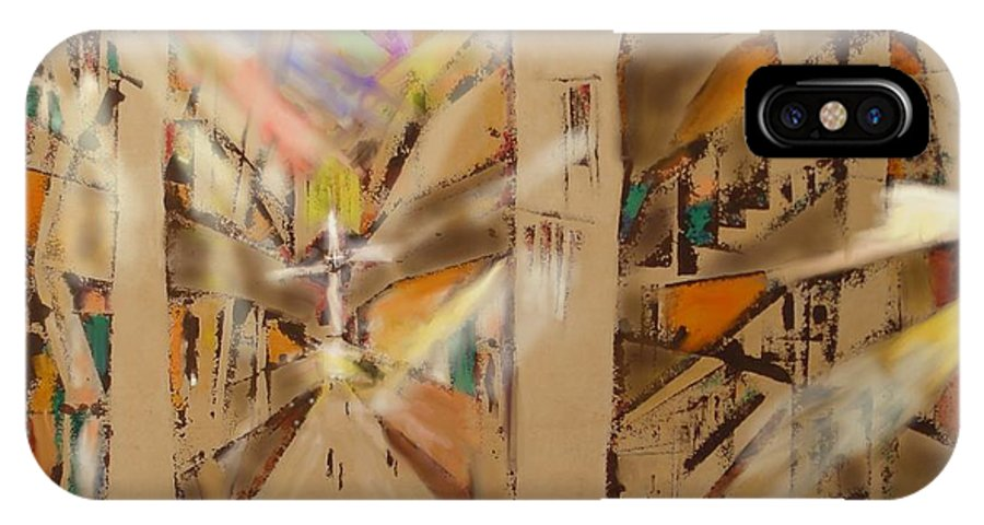 Abstract40 IPhone X Case featuring the painting Impression Of A Cathedral by Eugene Foltuz