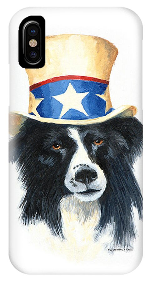 Dog IPhone X Case featuring the painting In Dog We Trust by Jerry McElroy