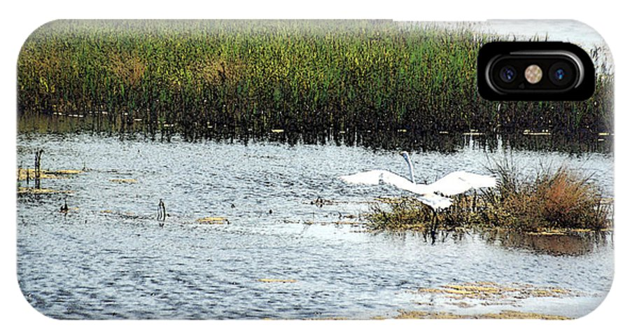 Egret IPhone X Case featuring the photograph In Flight by Suzanne Gaff