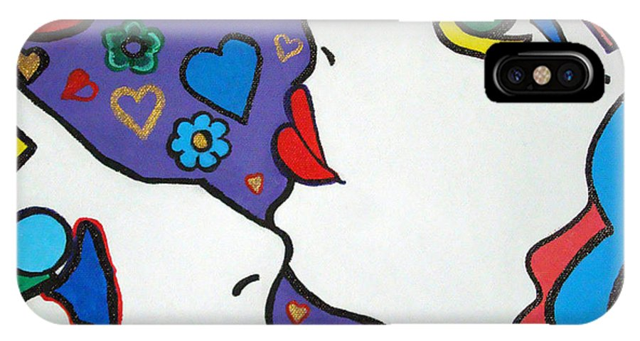 Pop-art IPhone X Case featuring the painting In Love by Silvana Abel