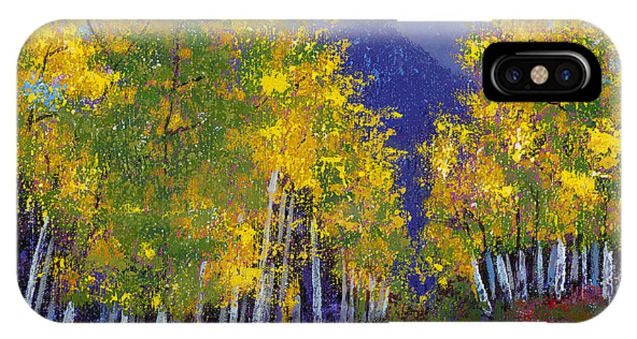 Purple And Yellow Paintings IPhone X Case featuring the painting In Love With Fall River Road by Margaret Bobb