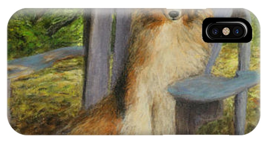 Pets IPhone X Case featuring the painting In Memory Of Esha by Chris Neil Smith