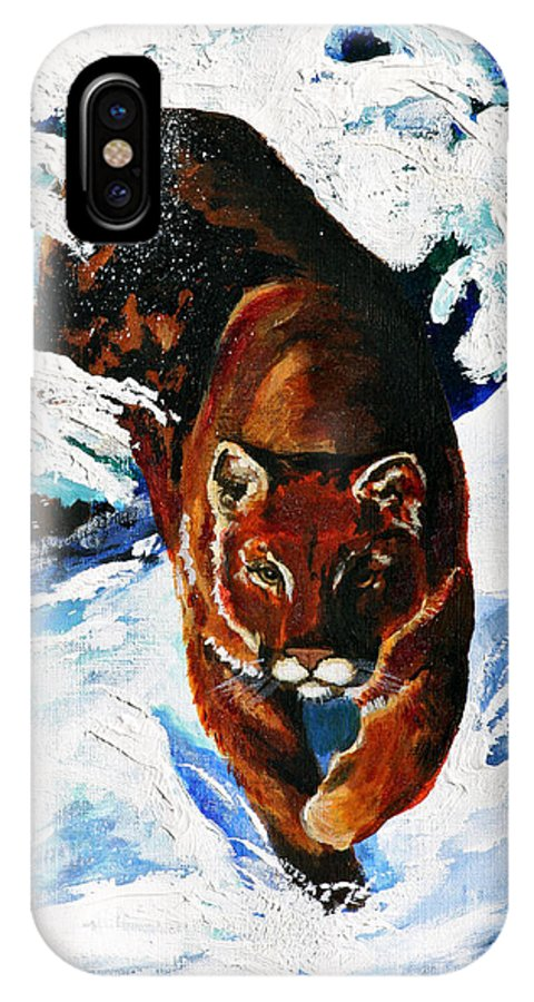 Mountain Lion IPhone X Case featuring the painting In Pursuit by Karon Melillo DeVega