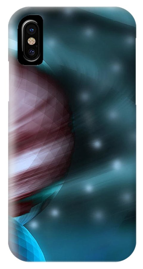 Space Art IPhone X / XS Case featuring the digital art In Space by Linda Sannuti