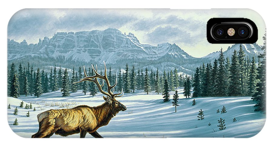 Landscape IPhone X Case featuring the painting In The Absarokas - Elk by Paul Krapf