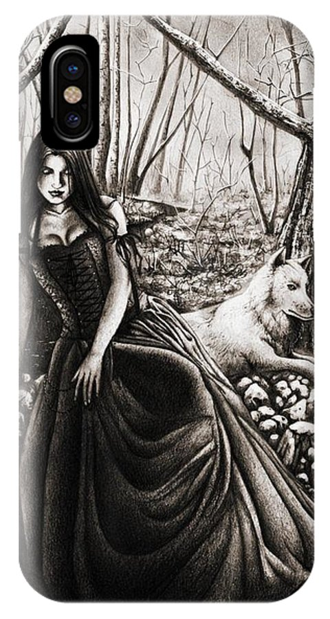 Girl IPhone X Case featuring the drawing In The Forest. by Paula Fazlich