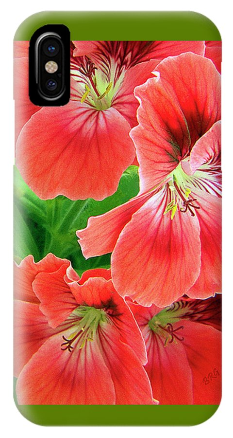 Red IPhone X Case featuring the photograph In The Garden. Geranium by Ben and Raisa Gertsberg