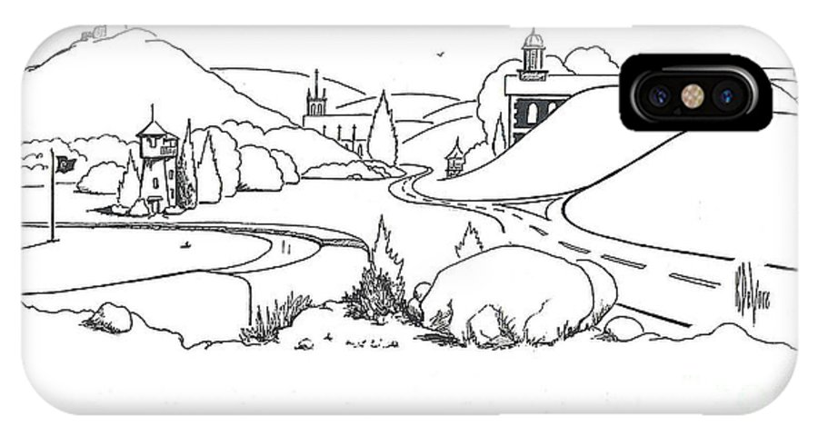 In The Land Of Brigadoon IPhone X Case featuring the drawing In the Land of Brigadoon by Kip DeVore