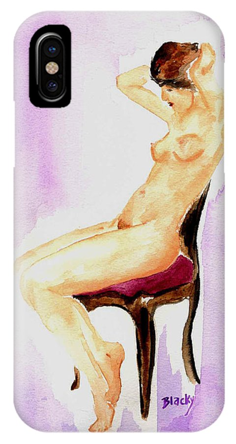Woman IPhone X Case featuring the painting In The Parlor by Donna Blackhall