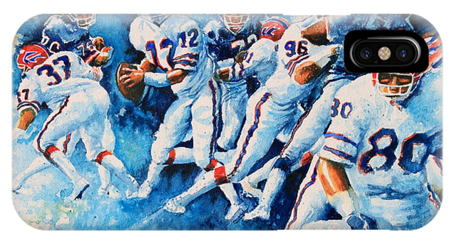 Sports Art IPhone X Case featuring the painting In The Pocket by Hanne Lore Koehler