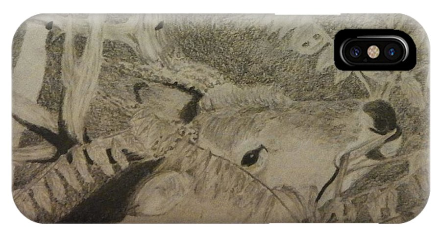 Deer IPhone X Case featuring the drawing In The Sumac by Sarah Hardin