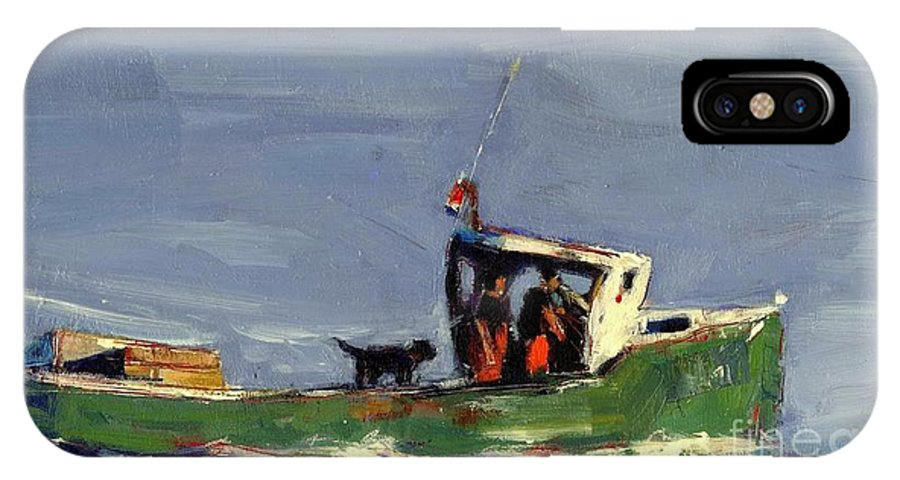 Lobster Boat IPhone X Case featuring the painting In Tow by Molly Poole