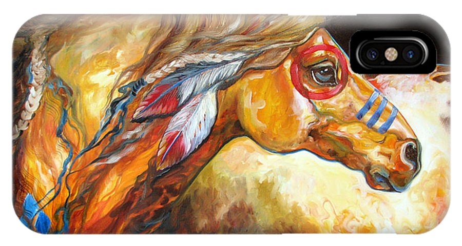 Horse IPhone X Case featuring the painting Indian War Horse Golden Sun by Marcia Baldwin