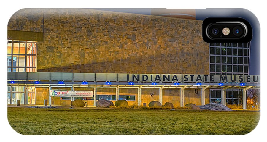 Indiana IPhone X Case featuring the photograph Indiana State Museum Night Delta by David Haskett II