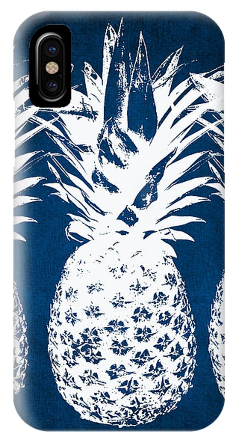Indigo IPhone X Case featuring the painting Indigo And White Pineapples by Linda Woods