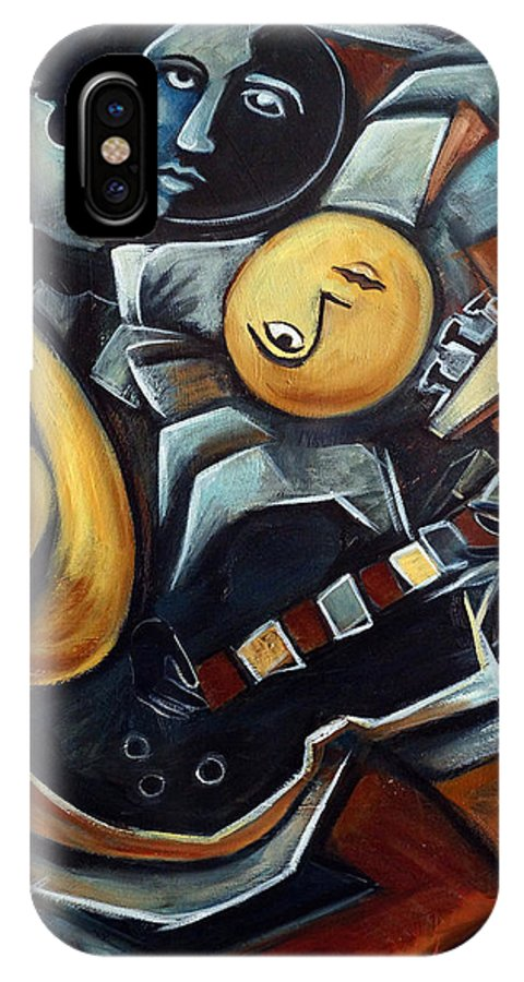 Cubism IPhone X Case featuring the painting Indigo Blues by Valerie Vescovi
