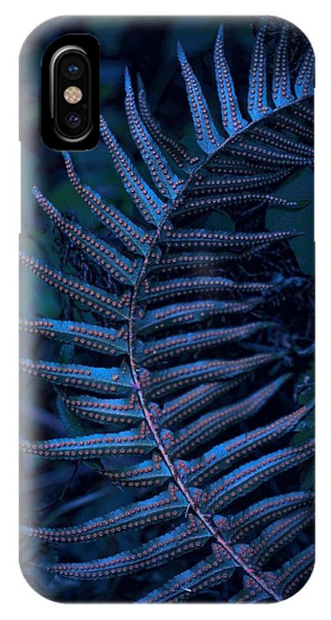 Indigo IPhone X Case featuring the photograph Indigo Fern by Bonnie Bruno