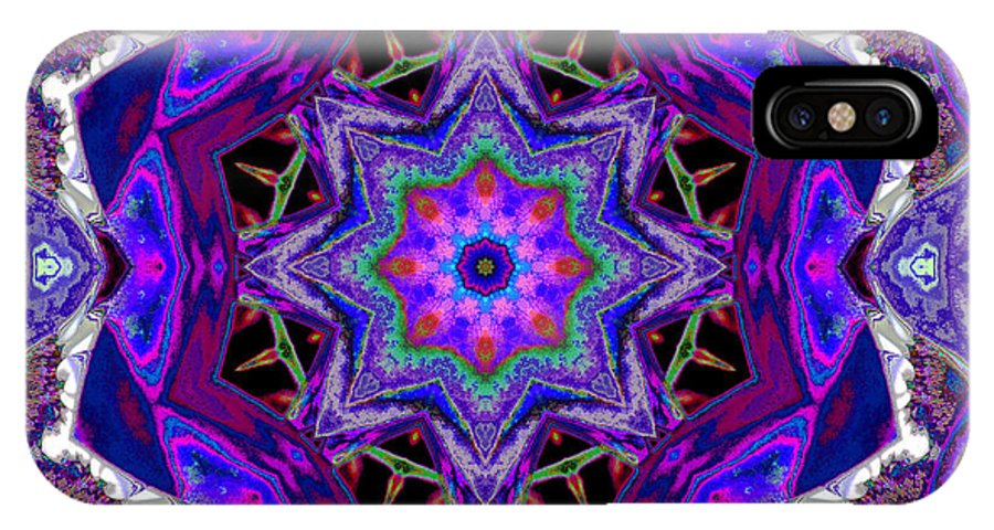 Mandala IPhone X Case featuring the mixed media Indigo Intuition by SiriSat