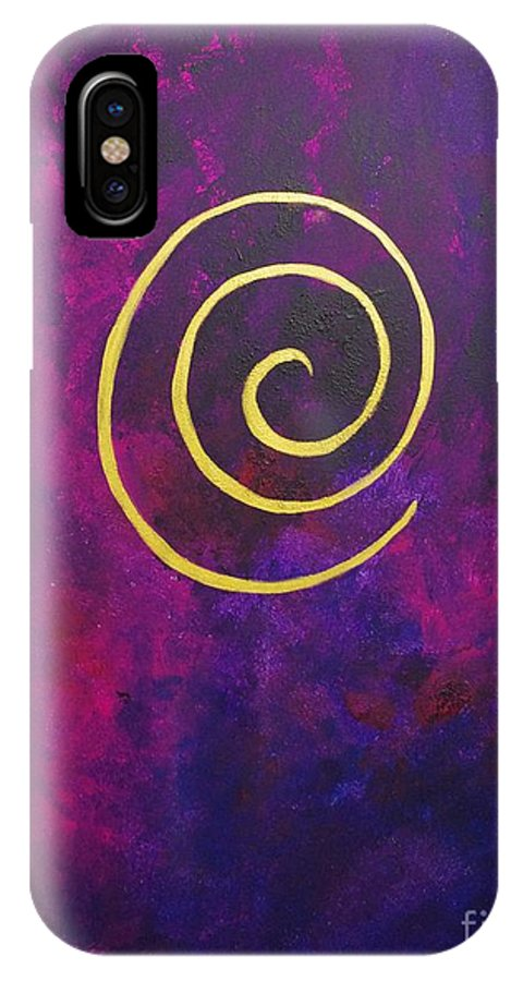 Infinity IPhone X Case featuring the painting Infinity - Deep Purple With Gold by Philip Bowman