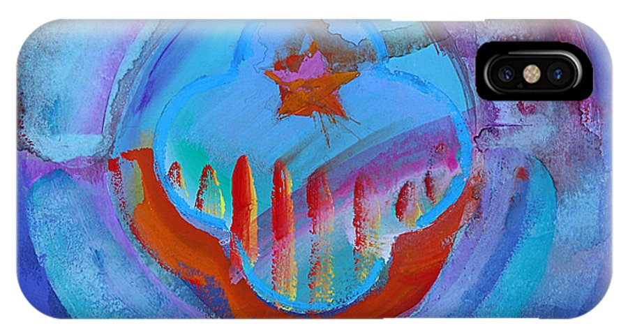 Texas Art IPhone X Case featuring the painting Inflame Skyline by Charles Stuart