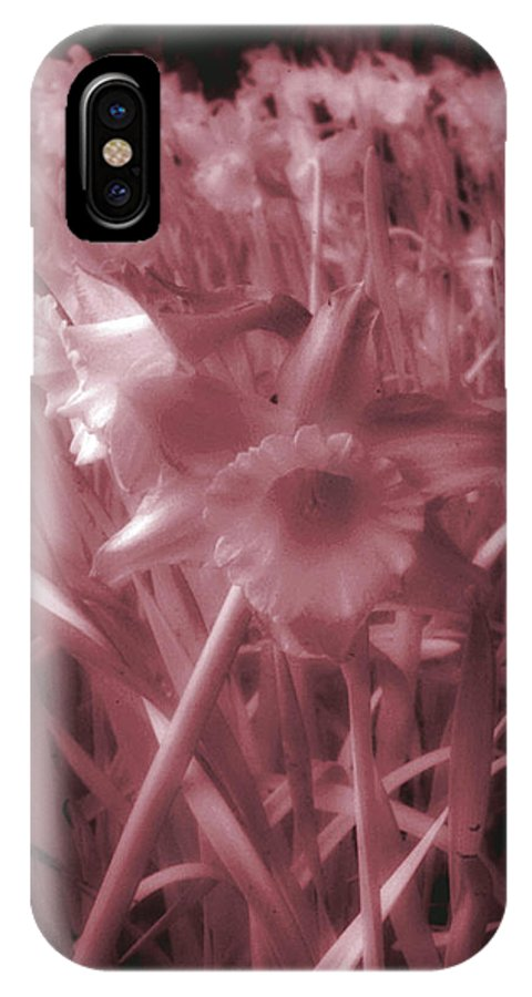 Infra IPhone X Case featuring the photograph Infra-red Daffodils Roath Park Cardiff by Robert J Taylor
