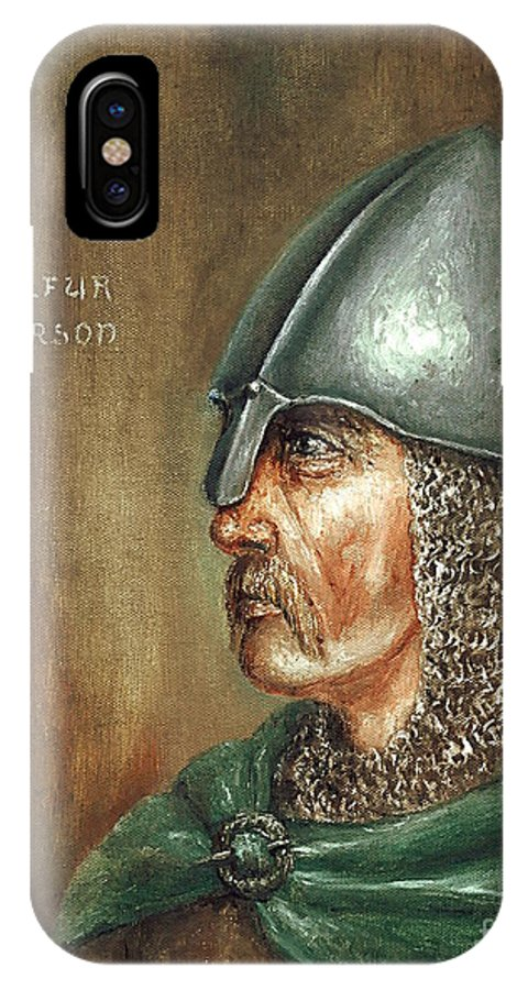Viking IPhone X Case featuring the painting Ingolfur Arnarson by Arturas Slapsys