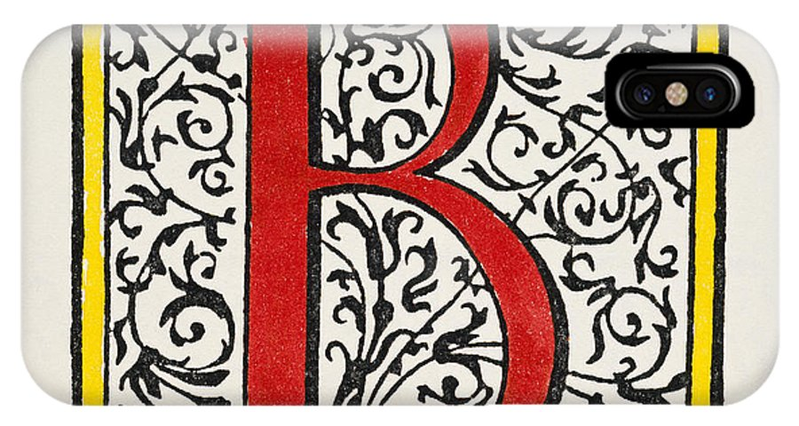 1600 IPhone X Case featuring the painting Initial 'b', C1600 by Granger