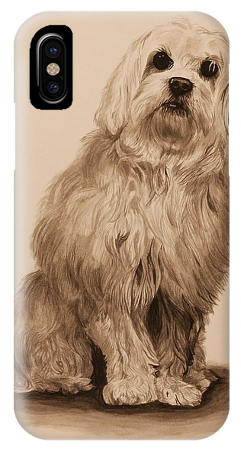 Dog IPhone X Case featuring the painting Ink Dog by Michelle Miron-Rebbe