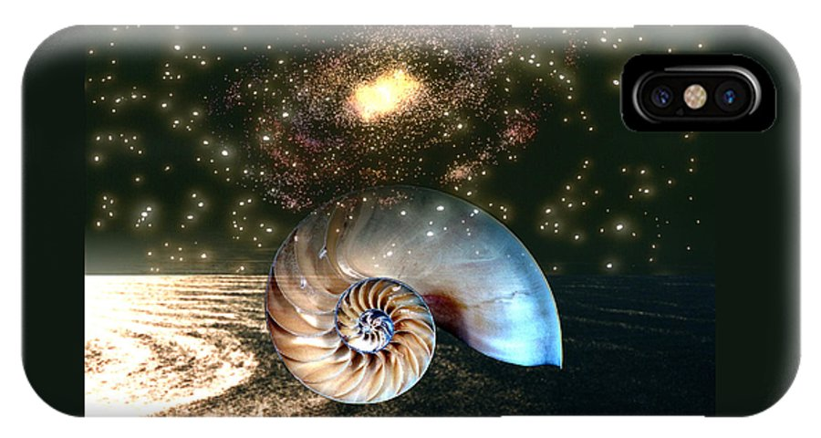 Shell IPhone X Case featuring the digital art Inner Space Outer Space by Lisa Yount